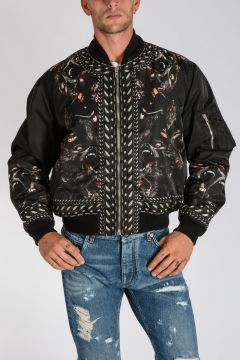 Nylon Bomber Jacket with Apes Print