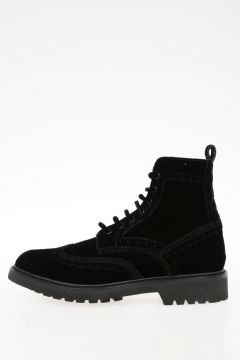 COMMANDO Velvet Brogue Ankle Boots