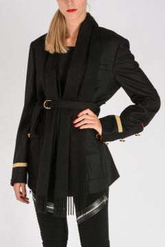 Wool Cashmere Coat With Fringes