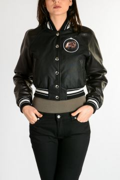 Cotton Jacket with Leather Details
