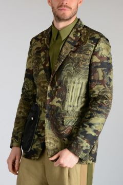 Printed Nylon Blazer with Removable Pocket