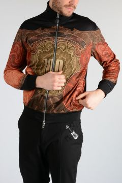 Zipped Printed Sweatshirt