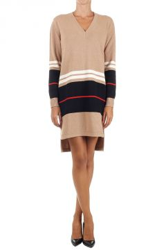 V-Neck Cashmere and Wool Mixed Dress