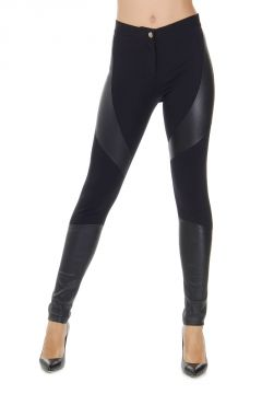 Leggings con Inserti in Pelle