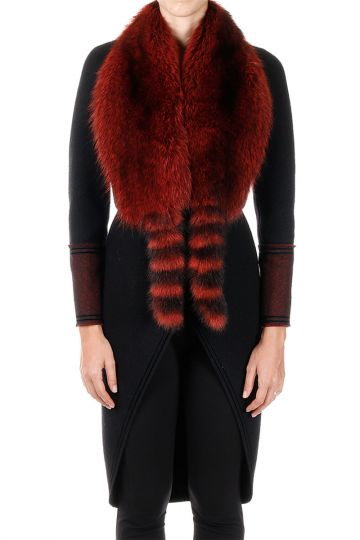Wool Coat with Real Fur