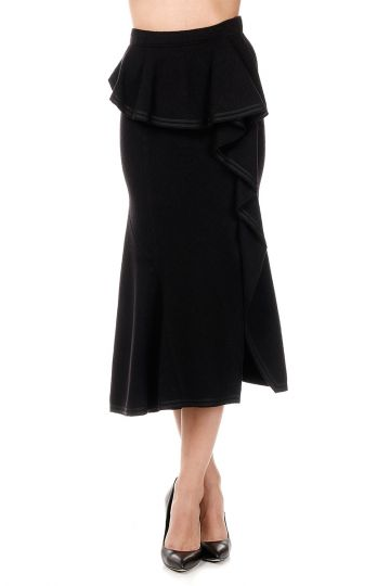 Wool Skirt JUPE LONGUE with Rouches