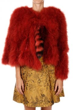 Turkey Feathers Jacket and Fur Details