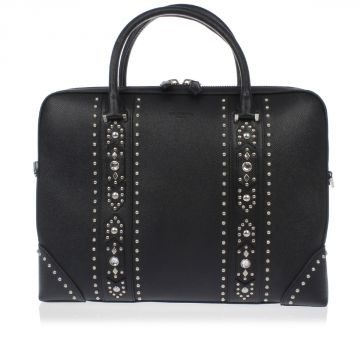 Studded Leather Bag with Strass