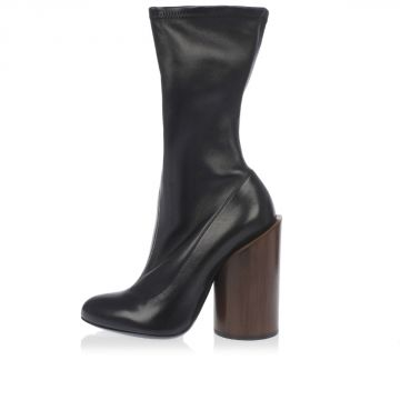 Leather Ankle Boots with Heel in Teck