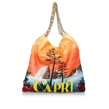 Printed Silk Shopping Bag