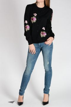 Cardigan in Lana Ricamato