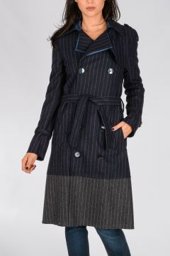 Trench Gessato in Misto Lana