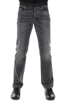 5 Pockets Denim Jeans with Pinstriped Wool Waist