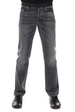 Jeans 5 Tasche con Dettaglio Vita in Lana Gessata