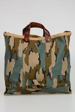 Leather and Fabric Camouflage Bag