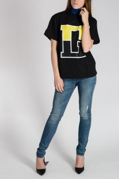 GOLDEN Cotton T-Shirt with Knitted Collar
