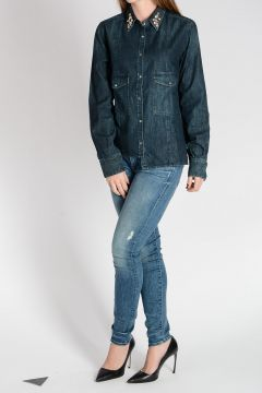 Denim Blouse with Chic Embroidery