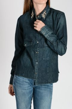 Camicia in Denim con Ricami Chic