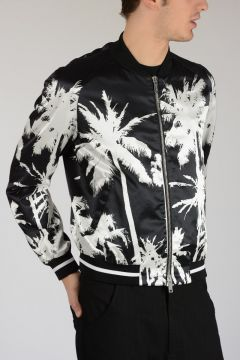 Mixed Cotton Jacket With Palms