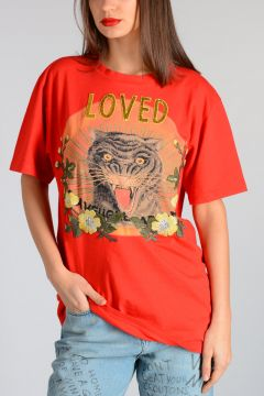 T-Shirt in Cotone LOVED con Ricami