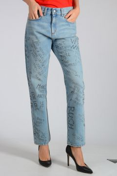 Jeans in Denim con Scritte 16cm