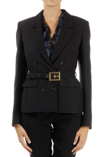 Double Breasted Blazer with Fabric Belt
