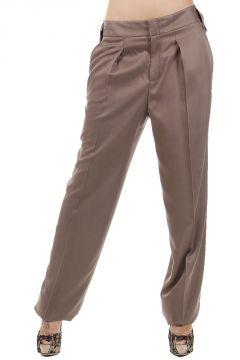 Pantaloni a Gamba Larga in Seta