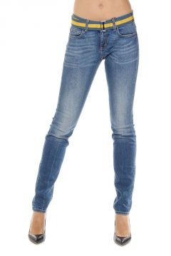 Jeans in denim stretch con cintura stacabile 15 cm