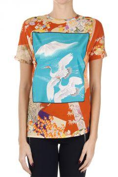 T-Shirt fiori con ricamo in seta