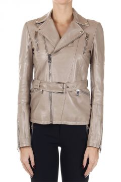 Leather double breasted biker jacket with belt
