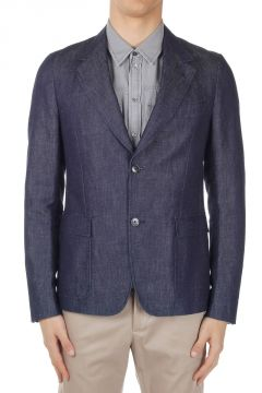 Blazer in Denim di Cotone e Lino
