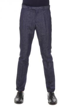 Pantaloni Formal Flare in Denim di Cotone e Lino