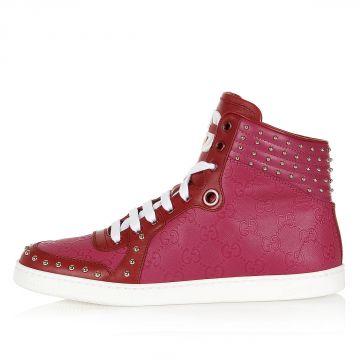 Sneakers Alte in Pelle con Stampa Logo e Borchie