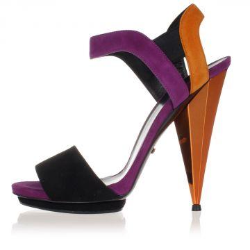 Multicolor Suede Sandal Heel 13 cm