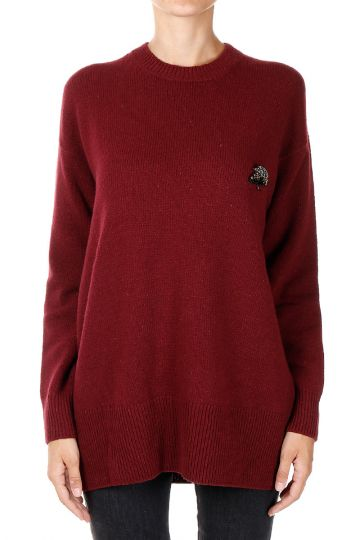 Round Neck Sweater With Brooch