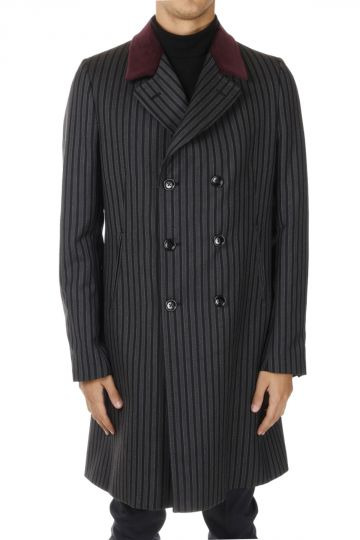 Cappotto a righe in Cotone Con dettaglio in Velluto