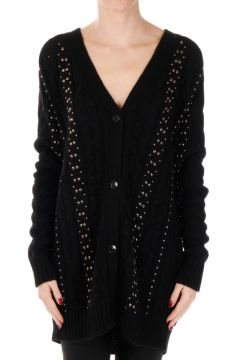 Cable knitted Cardigan With Studs