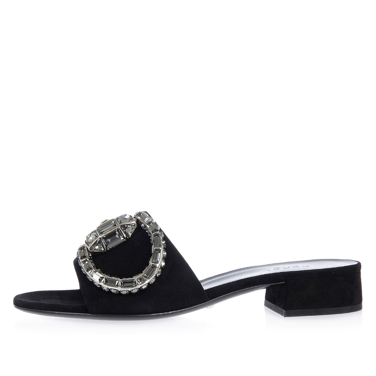 9a5c4741e2f Gucci Women Suede Sandals with Strass Heel 3 cm - Glamood Outlet