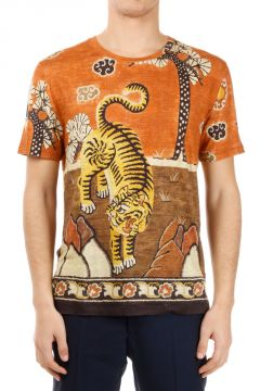 T-shirt stampa tigre in Lino