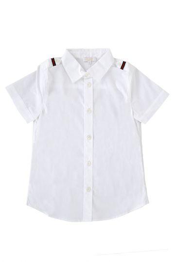 Camicia in Popeline di cotone a Manica Corta