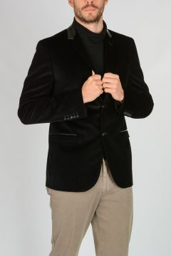 Corduroy DYLAN 60 Blazer with Leather Collar