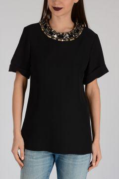 Jewelery Embroidery Silk Top