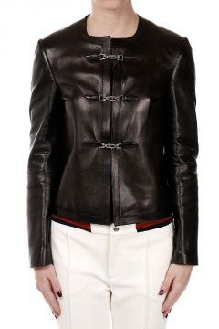 Toggle closure Leather jacket