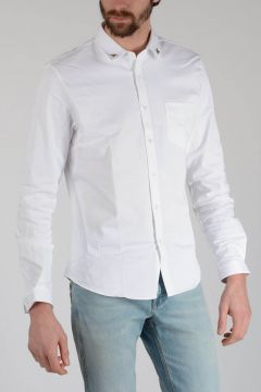 Stretch Cotton Shirt with Pins