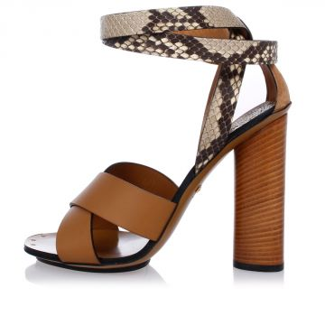 Leather sandals With Python Details