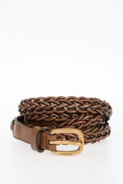 Woven Leather Belt 20 mm