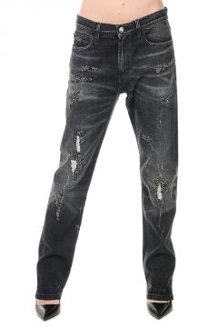 Jeans in Denim Stretch con Ricami 19 cm