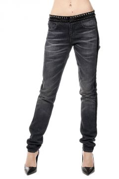 Jeans In Denim stretch Con Ricamo Gioiello 13 cm