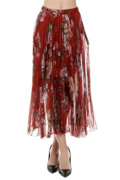 Pleated Silk Floral Printed Skirt