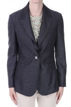 Single Breasted Mixed wool Blazer with Removable Collar
